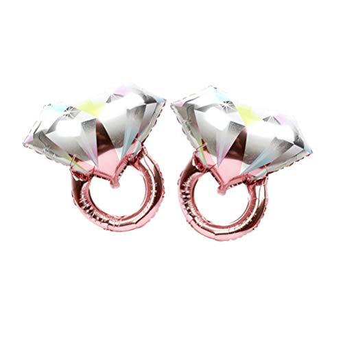 Toyvian 2 globos con anillo de diamante para boda romántica, fiesta de novia, aniversario, fiesta, decoración, tamaño grande (oro rosa)