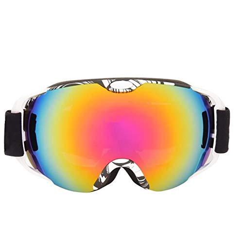 SALUTUYA Gafas de montañismo con Montura Estampada antivaho Esponja de Alta Densidad para Esquiar(White Frame)