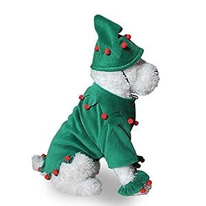 XIYAO Partie Vert Combinaison Outfit pour Chien Chat Chaton Chiot - Pet Déguisement Cosplay Partie Vêtements pour Chien Chat Halloween Manches Longues