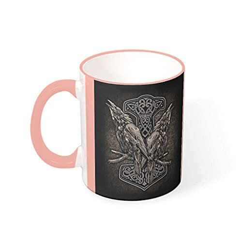 Taza de café Viking Hammer And Ravens de cerámica de primera clase personalizada, única – Taza de leche para regalo de cumpleaños vcbe 330 ml
