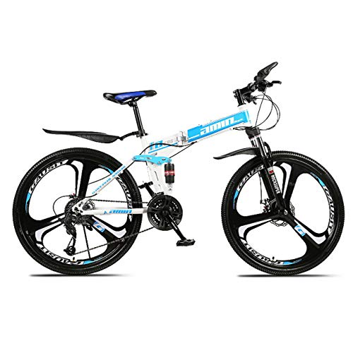 QXue 26 Inches Mountain Bike for Men and Women, High Carbon Steel Dual Suspension Frame Mountain Bike, Variable Speed Wheel Folding Outroad Bike,Blue,24 Speed