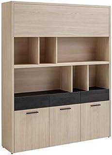 Meuble Haut bibliothèque Multifonction 4 Portes 3 tiroirs Effet chêne Clair et Noir - Rangement Bureau et Salon - Collecti...