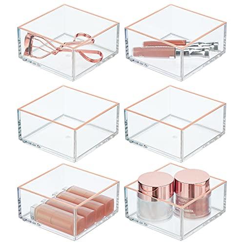 mDesign Juego de 6 organizadores de cosméticos – Práctico separador de cajones para labiales, sombra de ojos, accesorios para cabello y más – Bandeja apilable de plástico – transparente/dorado rosado