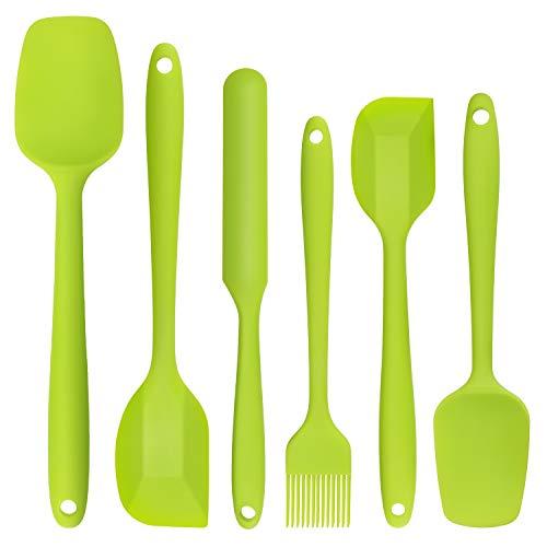 CHISTAR Silikon Teigschaber Set 6 Stücke Spachtel Set Hitzbeständig, für Kochen und Backen, Grün