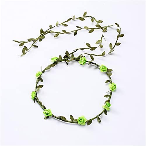 Wandskllss 24 piezas flor diadema Garland Bohemia floral corona para mujeres niñas accesorios para el pelo para bodas, festivales, fiestas, multicolor, verde 1 pieza