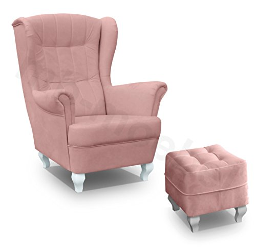 Ohrensessel Wohnzimmer-Sessel Relax-Sessel Loungesessel Armsessel mit Hocker - Stanford (Rosa)