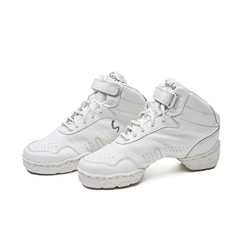 Skazz by Sansha Women's Dance Studio Exercise Sneakers Leather TPR Split-Sole Boomerang, White, 7