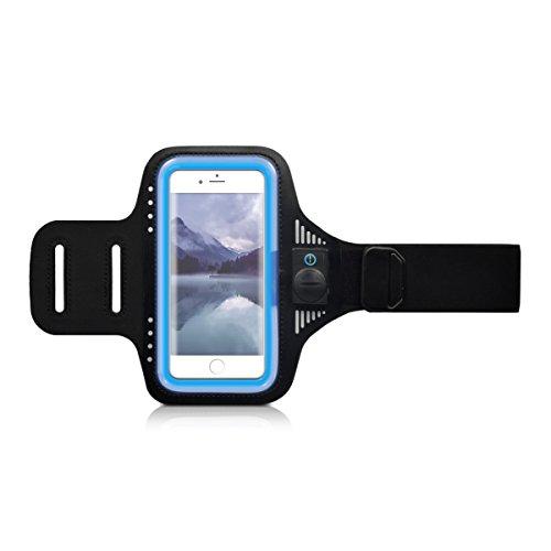 kwmobile Smartphone Universal Sport Armband - mit LED-Licht im Sportarmband - Sportband Armtasche für Handys - 16,5 x 8,5 cm Innenmaße