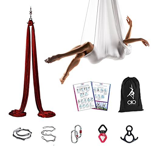 oio Aerial Silks for Home- Yoga Hammock & Hardware Starter kit- Flying Ariel Dance Swing Set Cheap Beginners Gymnastics Equipment rig for Home and Outdoor use 11yards/9.2 feet.