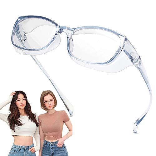 Jardin d'amour Gafas de seguridad, lentes con revestimiento antivaho y rayado, protectores laterales a prueba de viento Azul claro