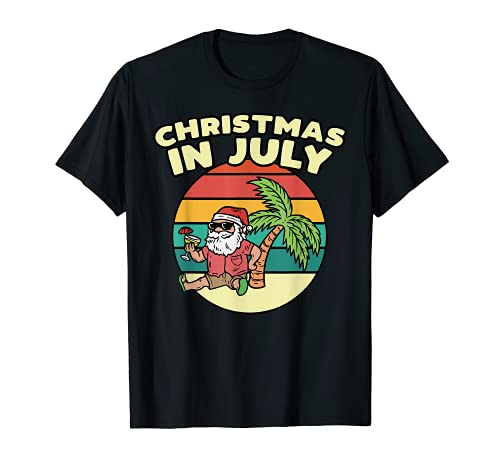 Christmas In July Summer Santa Vintage Xmas Torpical Gift T-Shirt