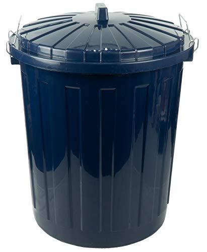 HRB Maxitonne 50 Liter dunkelblau, Tonne aus stabilem Hartplastik, abnehmbarer Deckel mit Metallverschlüssen, geeignet für Wäsche, Spielzeug oder als Mülleimer Küche