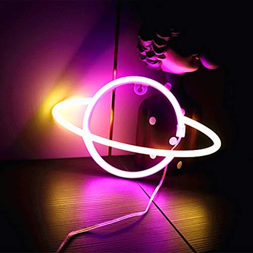 Planetenförmiges Neonlicht Batterie- / USB-betriebenes Cyberpunk-LED-Neonlicht mit hängendem Haken/stehender Basis für Dekoration Zubehör Wanddekoration