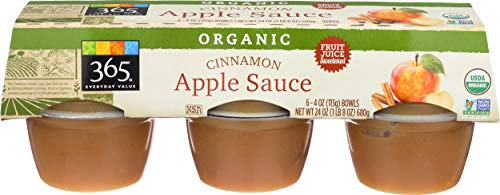 365 Everyday Value, Organic Apple Sauce, Cinnamon (6 - 4 oz bowls), 24 oz