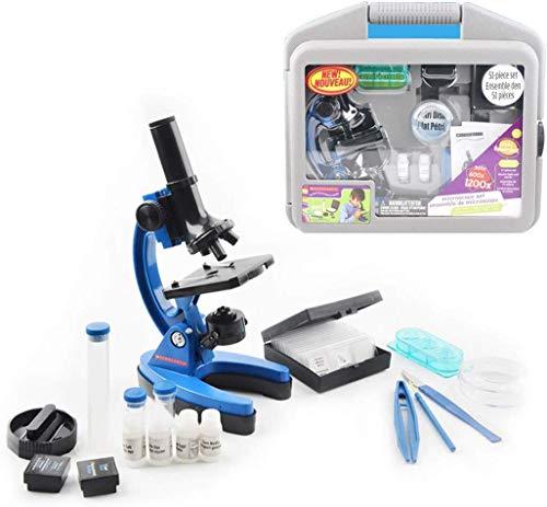 HYCQ Niños Microscopio Set 100X-600X-1200X con el Brazo y el pie de Metal y Muchos Accesorios con los Gases de Almacenamiento para Estudiantes y niños,1
