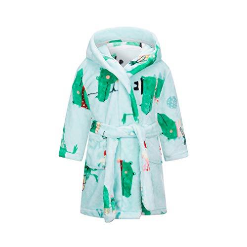 XINNE Mädchen Weiche mit Kapuze Bademäntel Plüsch Nachtwäsche Robe für Kleinkind Baby Grün