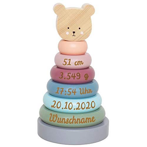 Elefantasie Stapelturm aus Holz mit Namen und Geburtsdaten graviert Bär