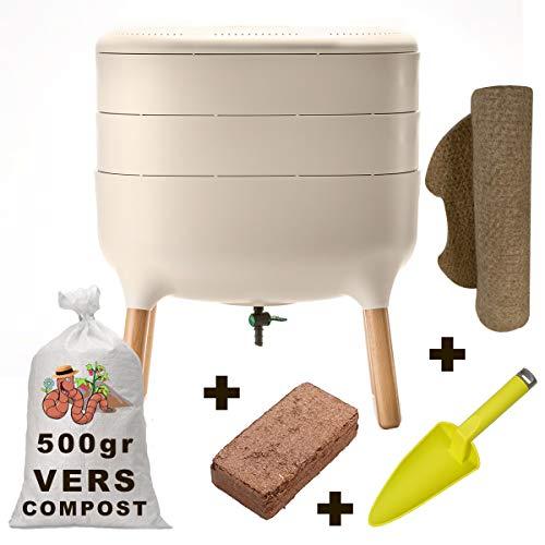 Urbalive KIT Complet : Lombricomposteur vers 500gr + Substrat démarrage + Pelle + Tapis de Chanvre
