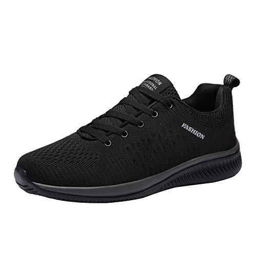 [WLK] [Amazon限定ブランド] ランニングシューズ スニーカー ウォーキングシューズ ジョギング 運動靴 男女兼用 軽量 黒 通気 クッション (ブラック) 25.5cm