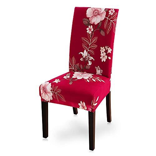 Fundas Protectoras para Sillas 8 Pieza Flores Rojas, Rosadas Fundas Sillas Lavables Comedor Decoración de Elástica para sillas para Banquetes Oficina Hogar Restaurante Bar.