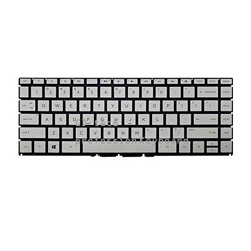 Laptop Keyboard Compatible for HP Pavilion 14-BK 14-BK000 14-BK100 920894-001 Series 14-BK061ST 14-BK063ST 14-BK091ST US Silver No Frame