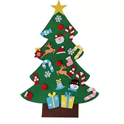 No/Brand Filz Weihnachtsbaum, DIY Weihnachtsbaum Dekoration Hängend Dekor für Kinder Weihnachts Geschenk mit 26PCS Ornament Christmas Wandbehang Deko