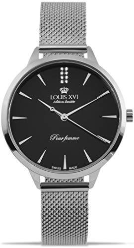 LOUIS XVI Dauphiné 1028 - Reloj de pulsera para mujer (correa de acero, analógico, cuarzo, acero inoxidable, malla de acero inoxidable), color plateado