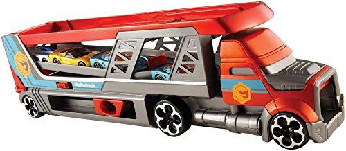 Hot Wheels camion transporteur de petites voitures et lanceur, pour transporter jusqu'à 14 petites voitures, jouet pour enfant, CDJ19