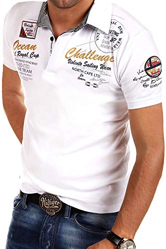 behype. Herren Kurzarm Polo-Shirt T-Shirt Polo-Hemd 20-7282 Weiß 4XL