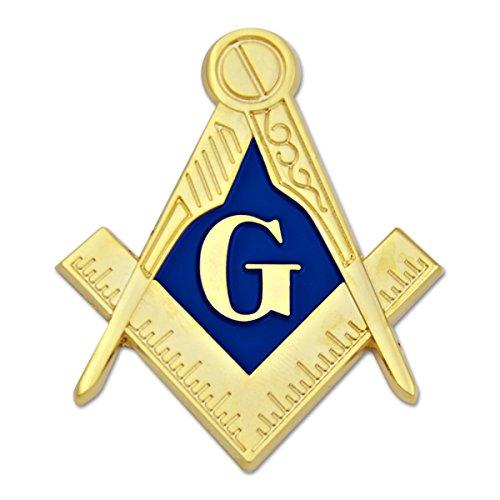 """Emblema automático maçônico quadrado e bússola – [Ouro e azul] [2"""" de altura]"""