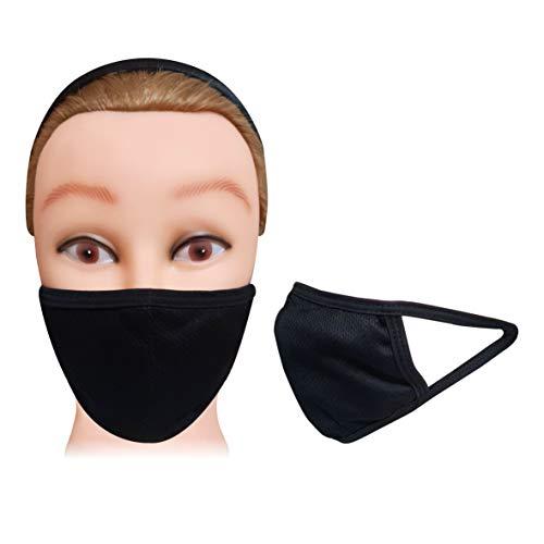VORX Maske, 3-lagig, Unisex, weich, atmungsaktiv, bequem, schwarzes Gewebe, waschbar, wiederverwendbar, Schutz vor Keimen, Verschmutzung, 2-lagiges Strickgewebe, 1 Schicht Polypropylen für Filtration