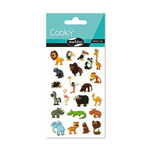 Maildor 560389C Packung mit Stickers Cooky 3D (1 Bogen, 7,5 x 12 cm, ideal zum Dekorieren, Sammeln oder Verschenken, Savanne) 1 Pack