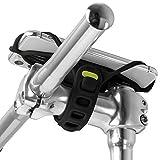 Bone Bike Tie Pro 4 自転車 スマホ ホルダー シリコン製 ステム用 四世代目最新版 4.7〜7.2インチのスマホに対応 iPhone Xperia Galaxy Pixelなどが装着可能 衝撃吸収 脱着簡単 脱落防止 縦型 (ブラック)