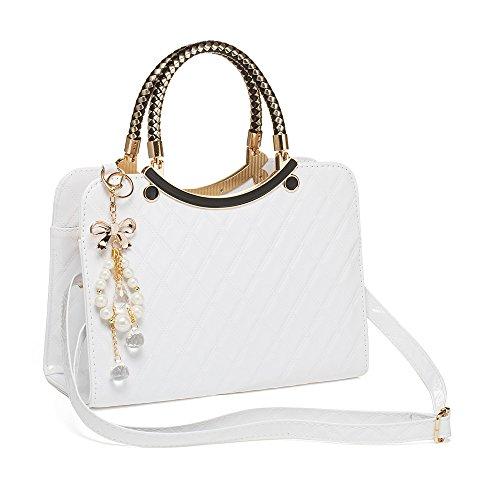 Interlink Damen Handtasche Weiß Modern Fashion Schultertasche Geldbörse PU Leder Weiß