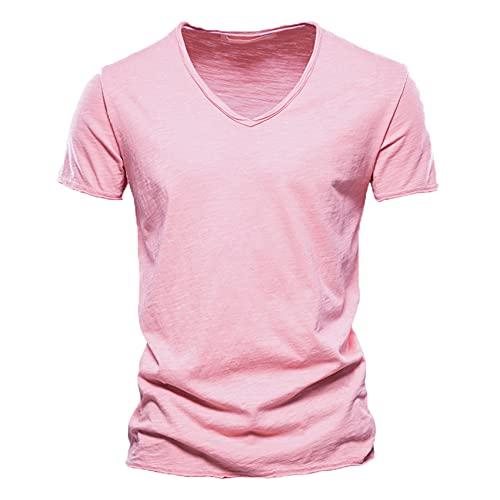 Camiseta De AlgodóN De Calidad para Hombre, DiseñO De Moda con Cuello En V, Camisetas Ajustadas Y SóLidas para Hombre, Camisetas De Manga Corta, Camiseta para Hombre