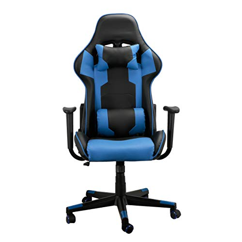 Gaming-Stuhl im Racing-Stil, ergonomischer Computerstuhl aus Leder, Blau