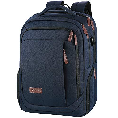 KROSER Laptop Rucksack Schulrucksack 17,3 Zoll Tagesrucksack Wasserabweisende Laptoptasche mit USB Ladeanschluss für Business/Schule/Reisen/Frauen/Männer-Dunkelblau MEHRWEG