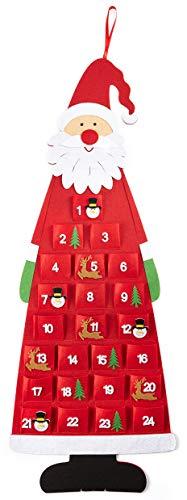 HEITMANN DECO Navidad - Calendario de Adviento en Forma de Papá Noel de Fieltro para Colgar y llenar - Decoración navideña - Rojo, Blanco, Verde