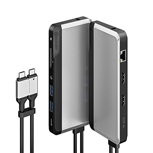 ALOGIC USB-C 10-in-1 Super Dock, Dual Display- 4K@60HZ, 2 HDMI, USB C (100W PD & Data 5G), 3.5MM Jack, ETHERNET Port, Micro/SD Card, 100W PD for MacBook PRO/AIR, XPS and More