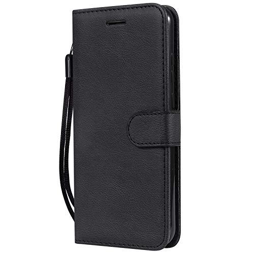 Docrax Handyhülle Lederhülle für Nokia 8.1 2018, Flip Case Schutzhülle Hülle mit Standfunktion Kartenfach Magnet Brieftasche für Nokia8.1 - DOKTU100261 Schwarz