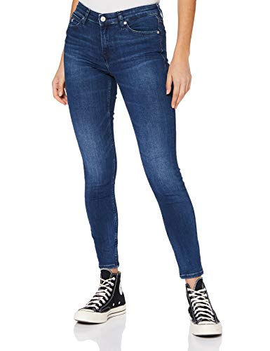 Calvin Klein Jeans Damen Ckj 011 Mid Rise Skinny Ankle Hose, Bb112-Bright Blue Embro Hem, NI34