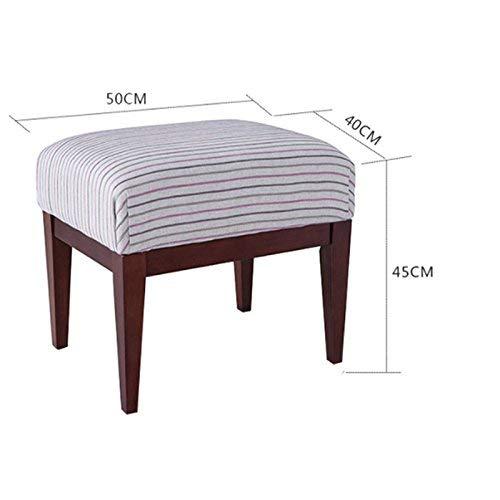AXCJ Small Seat Home Use Massivholz American Dressing Hocker, Stoff Hocker, Restfläche Länge 50cm, Breite 40cm,Braun