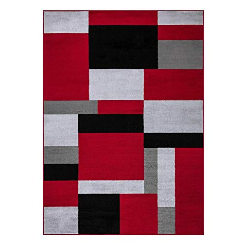 WEBTAPPETI.IT Tappeto Moderno Salotto Milano Rosso cm. 160X225