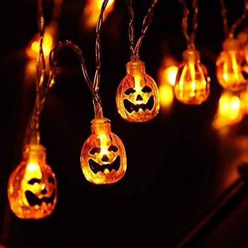 Joomer Cadena de Luces de Calabaza, 2 Pack 30LED Luces de Cadena LED de Halloween con Pilas, 2 Modos Luces Decoración de Interiores y Exteriores para Halloween/Fiestas Temáticas/Carnaval/Celebración