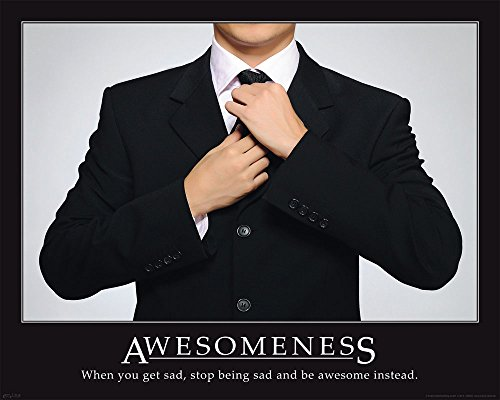 Motivational - Awesomeness - Suit Mini Poster Plakat Druck - Größe 50x40 cm