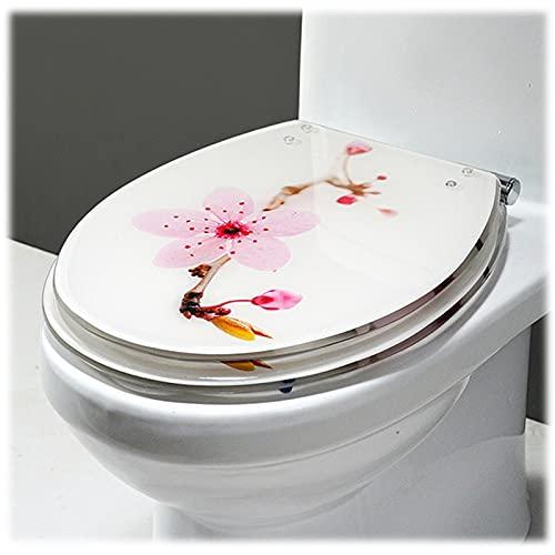 YHMT Tapa de WC,Asiento de Inodoro con Función de Descenso,Función de Liberación Rápida,Bisagras Ajustables,Fácil de Limpiar (Color : Peach Blossom)