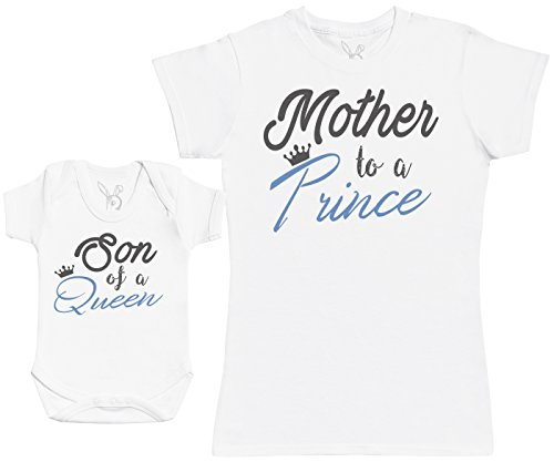 Son of A Queen, Mother To A Prince - Regalo para Madres y bebés en un Body para bebés y una Camiseta de Mujer a Juego - Blanco - L & 0-3 Meses