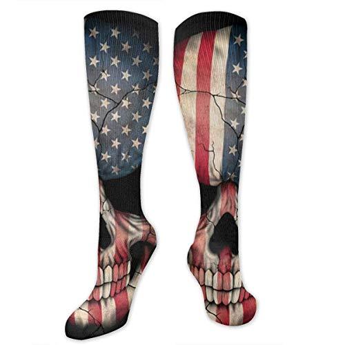 TTYIY Kniestrümpfe mit amerikanischer Flagge, Totenkopf, lustig, lässig, gestrickt, für Damen & Herren, feuchtigkeitsableitend, atmungsaktiv, lange Socken, mehrfarbig gemustert