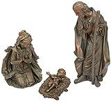 3-Piece Bronze Finish Mary, Joseph and Baby Jesus Outdoor Safe Garden Nativity Set