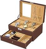 bestwishes Watch Box 12 Slots Watch Organizer Jewelry Display Case Organizer with Jewelry Drawer for Storage and Display Lockable